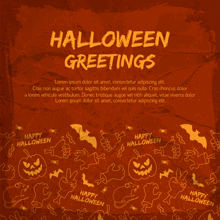 Halloween greeting card with animals lanterns of jack hands with bones on textured red background Illustration