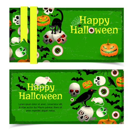 Happy halloween horizontal vintage banners poster with cartoon symbols of holiday on green background flat Vector Illustration
