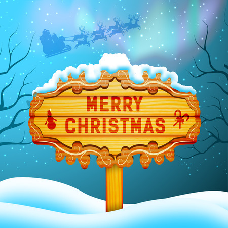 Merry christmas background concept with wooden sign santa claus and northern lights flat vector illustration Illustration