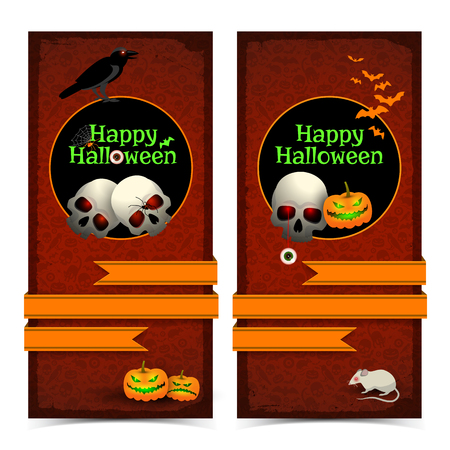 Happy halloween vertical banners with skull and lantern on black circle and orange ribbon isolated vector illustration Illusztráció