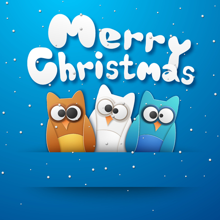 Christmas owls with merry Christmas and winter symbols paper style vector illustration Illustration