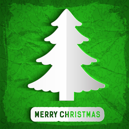Merry christmas crumpled paper concept background with fir tree silhouette flat vector illustration