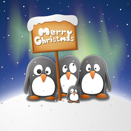 Christmas penguins with merry Christmas and winter symbols paper style vector illustration Illustration