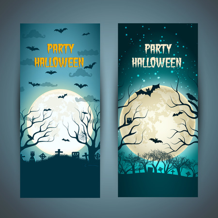 Halloween party vertical banners with animals trees at night cemetery on huge moon background isolated vector illustration Illustration
