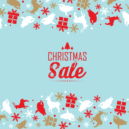 Christmas sale decorative poster divided on three parts with red text about discounts and traditional symbols