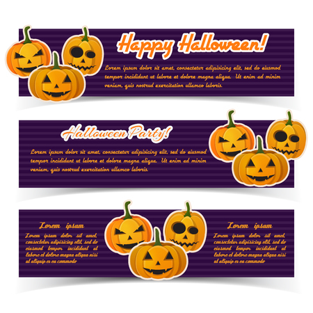 Magic Halloween party horizontal banners with calligraphic inscriptions and paper evil pumpkins on purple striped background vector illustration Ilustração