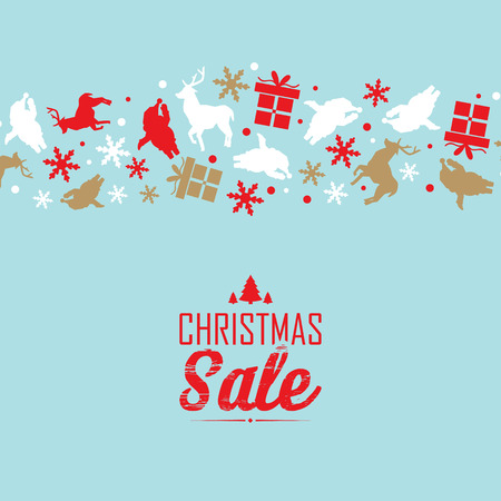 Christmas sale event poster with text about discounts and decorative symbols such as snowflake, santa claus, deer  upper the text
