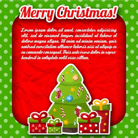 Flat merry christmas green polka dot card with holiday symbols and text field on red crumpled paper background vector illustration