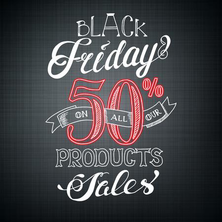 Plantilla de publicidad caligráfica de Black Friday con texto promocional y tasa de descuento en la ilustración de vector de fondo oscuro