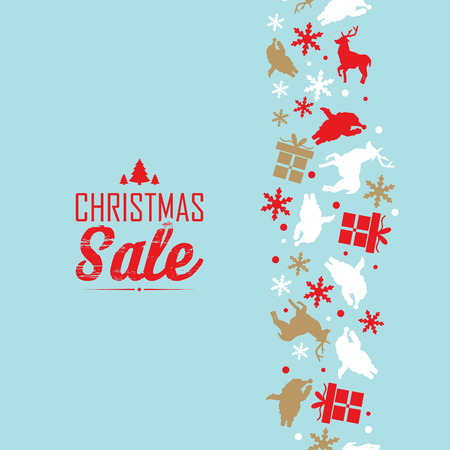 Christmas sale event poster with text about discounts and decorative traditional symbols such as snowflake