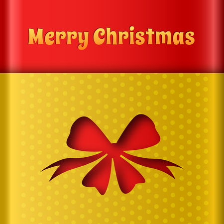 Seasonal celebrating template with red ribbon bow cut out from yellow dotted background vector illustration  イラスト・ベクター素材