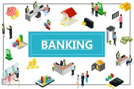 Isometric banking concept with building money coins safe gold bars calculator atm machine piggy bank receptionist cashier consultant managers clients in frame vector illustration