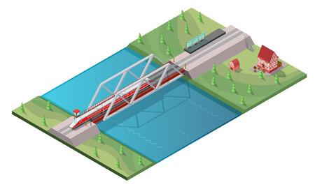 Isometric passenger high speed train concept moving on railway bridge across river isolated vector illustration Illusztráció