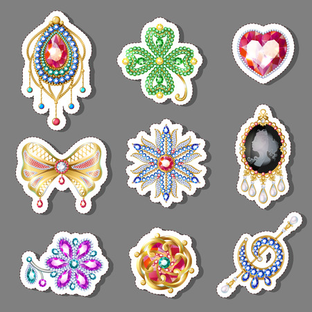 Cartoon colorful paper brooches set of different shapes with gems and jewels isolated vector illustration