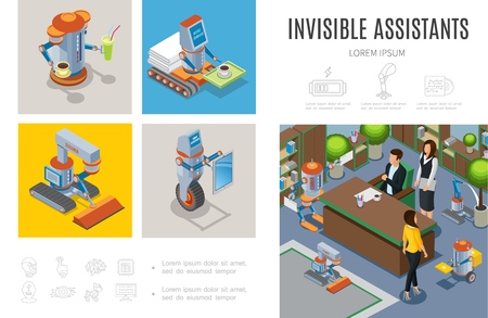 Isometric robotic assistants infographic template with robots bar cleaner courier housewife intelligent machines helping people in business and hotel services vector illustration