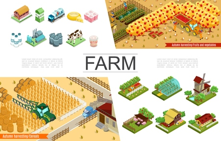 Isometric agriculture elements collection with farms windmill harvesting farmers greenhouse fruits animals trees agricultural vehicles dairy factory and products vector illustration Foto de archivo - 128174441