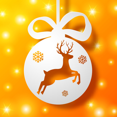 Christmas bauble with deer silhouette on glowing orange background flat vector illustration