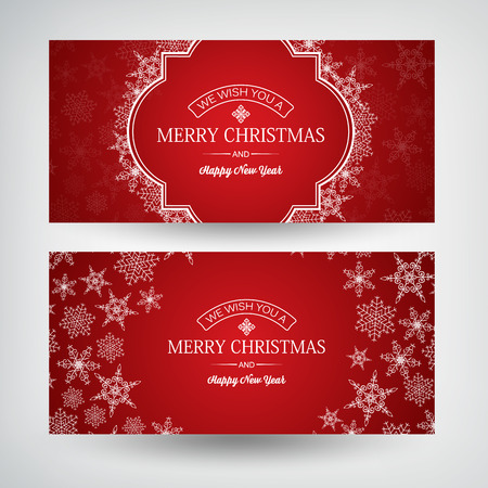 Abstract Happy New Year horizontal banners with greeting inscriptions and beautiful snowflakes on red background vector illustration