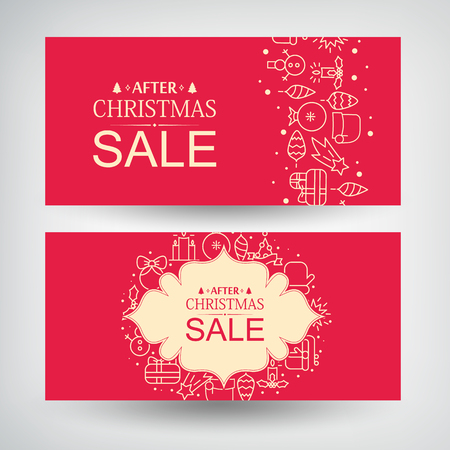Set of two Christmas sale banners with information about discounts after Christmas  and decorative gifts