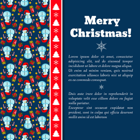 Christmas holiday card with text field and snowman pattern on left side Archivio Fotografico - 111435991
