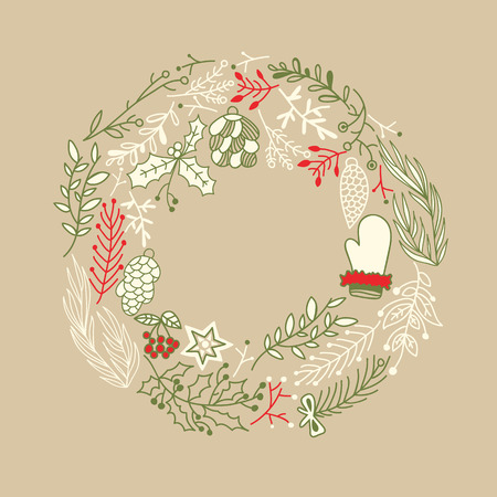 Filigree foliated wreath design concept with variety tangle of branches Illustration