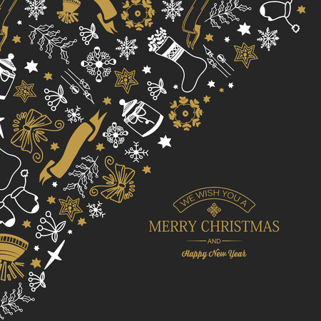 Happy New Year festive poster with greeting inscription and Christmas symbols on dark background vector illustration Stock fotó - 128174468
