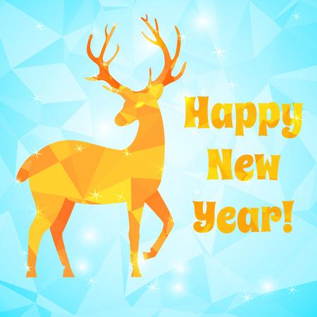 Silueta de ciervo de color naranja en la ilustración de vector plano de fondo de año nuevo