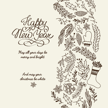 Happy New Year greetings typography design decorative card doodle with wishes all your days be merry and bright and Christmas be white vector illustration Standard-Bild - 128174480