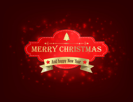 Merry Christmas festive template with text golden ribbon and red paper frame on glowing starry