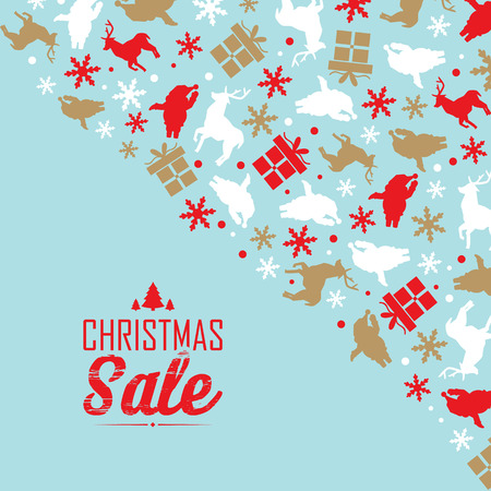 Christmas sale event poster with text about discounts in the left corner and decorative traditional symbols such as snowflake, santa claus in the front corner vector illustration