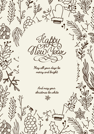 Monochrome filigree ornament oval frame sketch composition with beautiful objects symbolizing New Year and Christmas hand drawn vector illustration Vektorgrafik