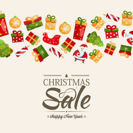 Christmas sale and happy new year poster with text about discounts in the centre and many colorful gifts , objects on the rose background vector illustration Illustration