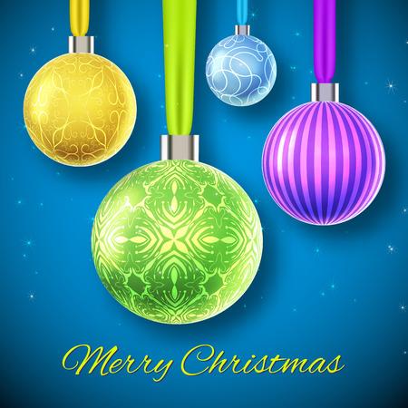 Concepto de fondo de Navidad de diseño plano con cuatro bolas ornamentadas de colores aislados ilustración vectorial Ilustración de vector