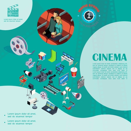 Isometric cinema colorful template with couple watching movie filmstrip cameras soda megaphone 3d glasses clapperboard projectors director chair popcorn hromakey vector illustration