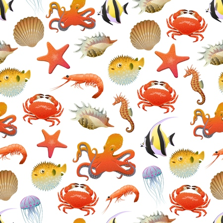 Sea and ocean life seamless pattern with marine creatures and animals in cartoon style Ilustração
