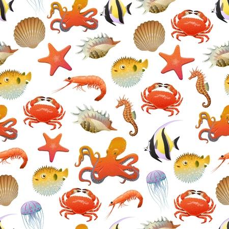 Wzór życia morskiego i oceanicznego ze stworzeniami morskimi i zwierzętami w stylu kreskówki