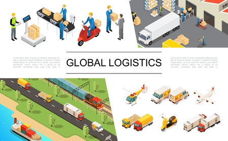 Isometric global logistics elements set with helicopter trucks airplane scooter ship train warehouse storage workers loading and weighing processes vector illustration