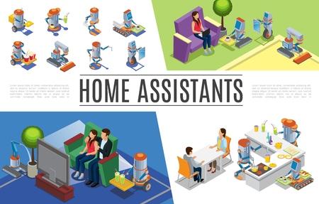 Collection d'assistants à domicile robotiques isométriques avec des robots nettoyants réparant des plantes d'arrosage de cuisine faisant le travail de serveur et de facteur illustration vectorielle Vecteurs