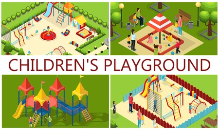 Isometric kids playground composition with parents children carousels tube slides swings seesaw sandbox colorful bars benches