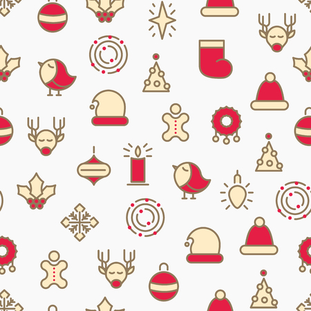 Simple Merry Christmas symbols seamless pattern with deers, stars, hats, snowflakes with line colorful on the white background hand drawn icons vector illustration
