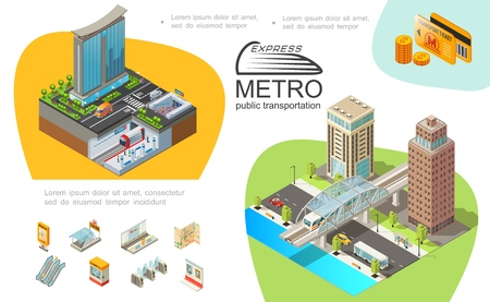 Metro public transport infographic template with subway elements