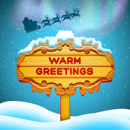 Flat design warm greetings wooden sign and santa claus in sky background vector illustration