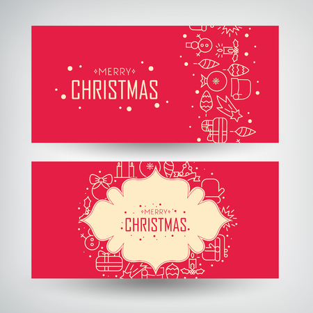 Christmas design concept banners set  with drawing snowmen, garlands, candles and traditional holiday symbols