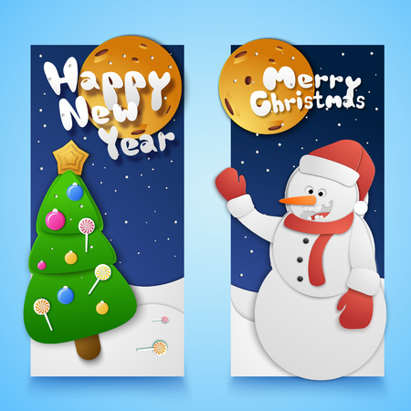 Christmas and new year vertical banners set with moon and snowman paper style isolated vector illustration