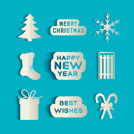Christmas and new year paper style icons set isolated on blue background flat vector illustration