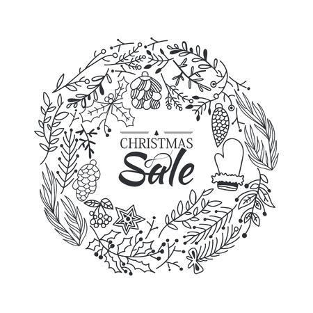 Christmas sale wreath sketch composition poster with beautiful cartoons of branches and traditional winter symbols hand drawing vector illustration Illustration