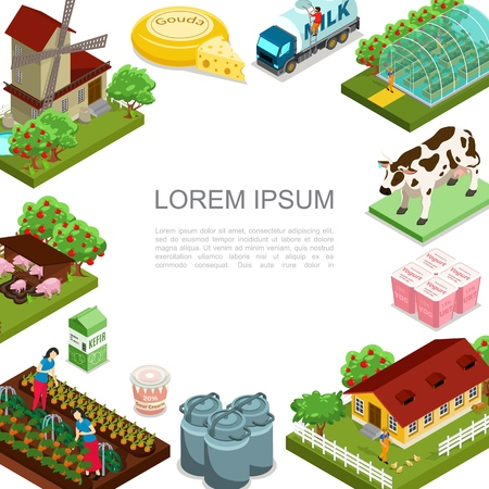 Isometric agriculture and farming template with windmill animals dairy products house apple trees milk truck women harvesting vegetables vector illustration