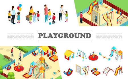 Isometric kids playground elements