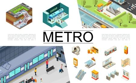 Collection d'éléments de métro isométrique