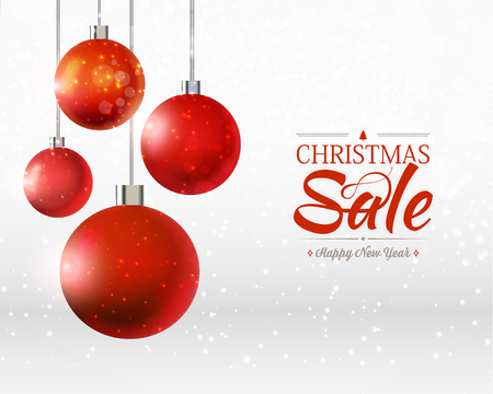 Christmas and happy new year sale poster with four balls ornaments, ribbons on the grey and white Illustration